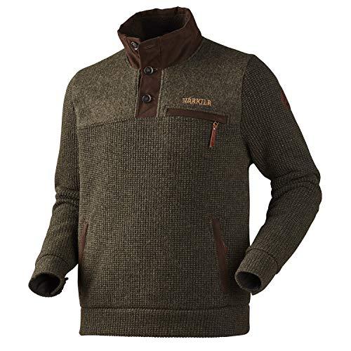 Harkila warme wollen trui Rodmar donkergroen - gebreide pllover met mooie lederen details