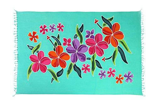 Ciffre Original Yoga Sarong Pareo Wickelrock Strandtuch Rund ca 170cm x 1110cm Handtuch Schal Kleid Wickeltuch Wickelkleid Petrol Türkis Glücks Blume