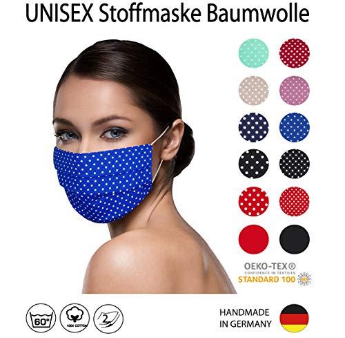 BLAU weiß kleine Punkte Facies unisex, gepunktet, wiederverwendbar 60 Grad waschbar aus Baumwolle 2-lagige Stoff Facies hergestellt in Berlin sofort lieferbar Punkte 2 mm