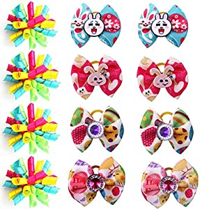 Masue Pets 12pcs Puppy Dog Hair Bows for Easter Rabbit Dog Curve Bows Puppy Dog Bows Comb Dog Grooming Accessories