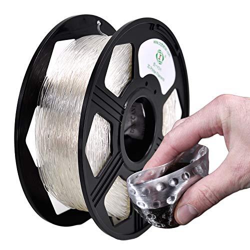 YOYI TPU Filamento 1.75 mm, Impresora 3D Filamento TPU 1.75 mm Filamento flexible 0.8 kg Carrete, Precisión dimensional +/- 0.02 mm (Transparent)