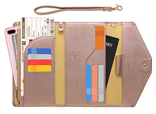 Zoppen Passport Holder Travel Wallet (Ver.5) for Women Rfid Blocking Multi-purpose Passport Cover Document Organizer Strap,Rose Gold