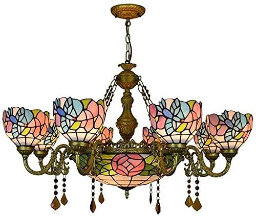 6 teste / 8 teste stile Tiffany in stile lampadario colorato vetro cristallino lampada a sospensione retrò creatività soggiorno villa decorazione lampada da soffitto in ferro E27