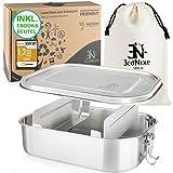 Econixe® Edelstahl Brotdose mit 2 variablen Fächern + Beutel, Auslaufsichere Lunchbox, BPA- &...