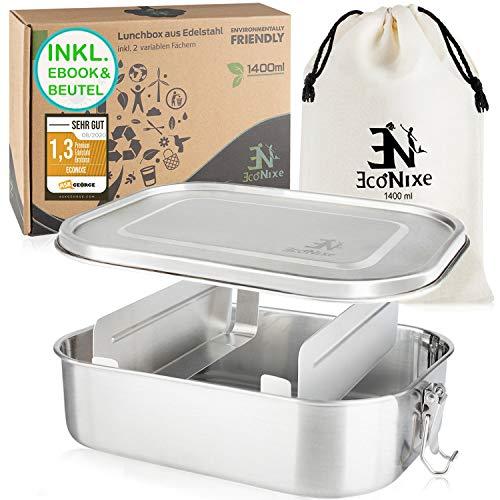 Econixe® Edelstahl Brotdose mit 2 variablen Fächern + Beutel, Auslaufsichere Lunchbox, BPA- & plastikfreie Brotzeitbox + Trennwände, Nachhaltige (1400ml) Lunch Bento Box Set auch für Kinder + eBook