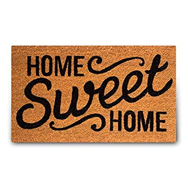 MPLUS Pure Coco Coir Doormat with Heavy-Duty PVC Backing - Home Sweet Home - Pile Height: 0.6-Inches - Size: 18-Inches x 30-Inches - Perfect Color/Sizing for Outdoor/Indoor uses.