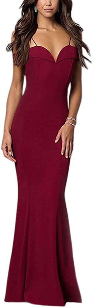 Engood Women's Elegant Off Shoulder Sleeveless Slim Formal Gown Evening Party Maxi Dress