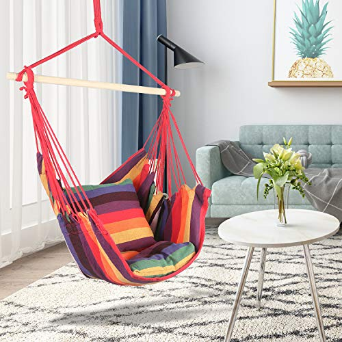 Hanging Hammock Chair Single Seating Swing Chair | Hammock Chair with Sitting and Reclining Cushions | Multi Colored | Durable Layer Fabric | Hanging Chair for Bedroom/Patio, Max.265LBs Red