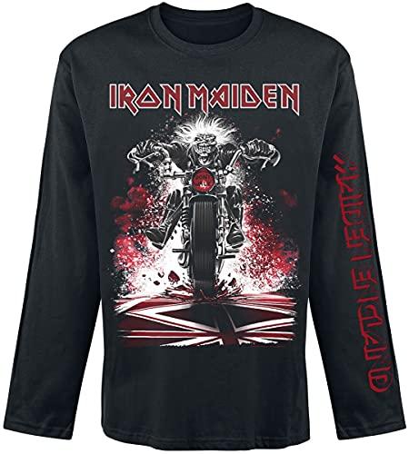 Iron Maiden Eddie Bike Hombre Camiseta Manga Larga Negro L, 100% algodón, Regular