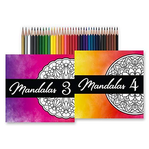 Mandala Coloring Book Bundle with Markers