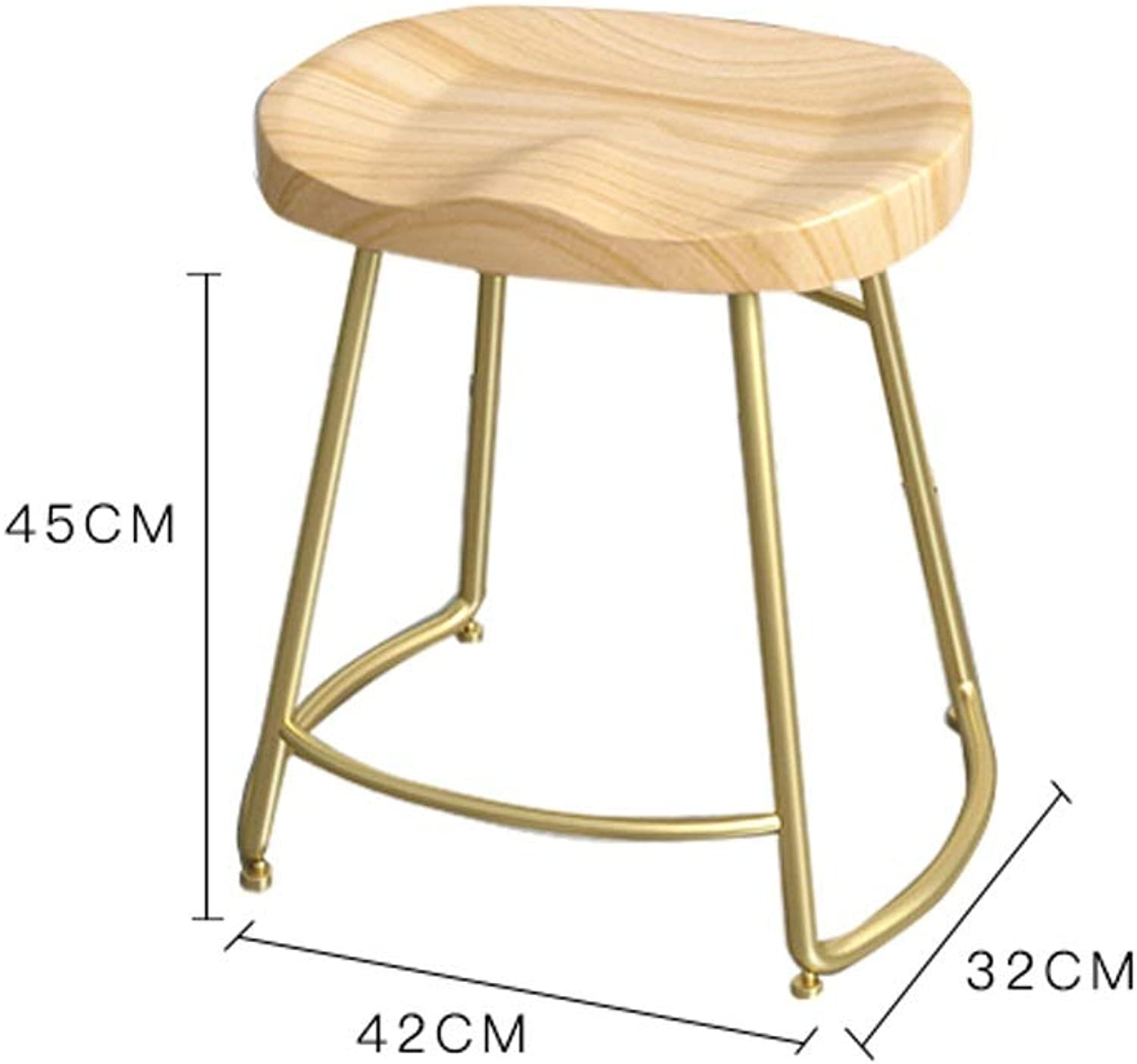 Solid Wood Nordic Minimalist Bar Chair - Home Bar Creative Coffee Casual Dining Stool Wrought Iron High Chair (Size   45cm)