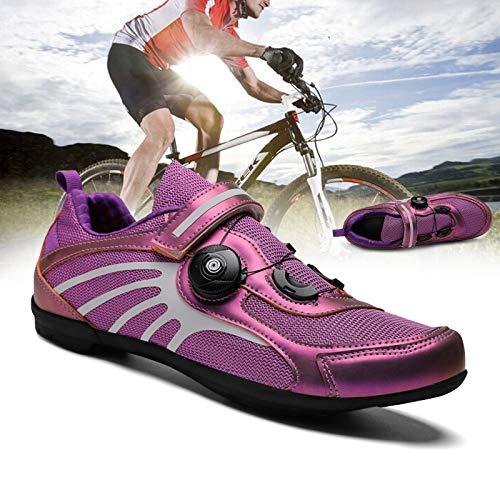 DUDUCHUN Zapatos De Bicicleta para Hombres Y Mujeres El Parche De Suela De Goma Antideslizante Y Resistente Al Desgaste Zapatillas De Ciclismo Zapatillas Casual Unisex,Púrpura,39