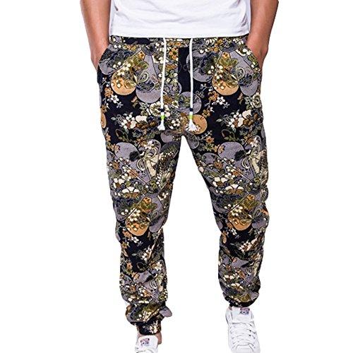junkai Männer Hosen Modern Sweathose Herren Baggy Pants Joggingshose Sportswear Freizeithose Trainingshose Druck Fitness Hose Soffhose Bunt L