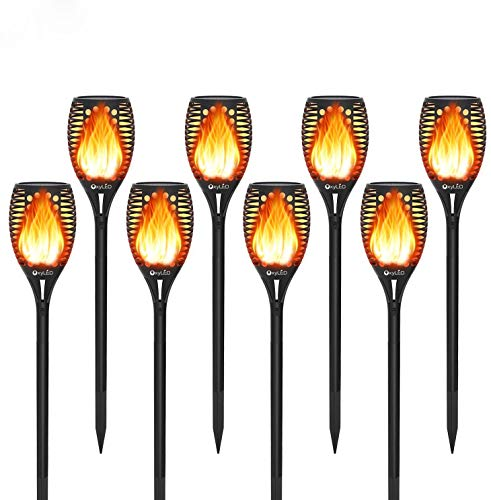 Solarleuchte Garten mit Realistischer Flammeneffekt,OxyLED 8 Stück 96 LED Garten Fackeln Beleuchtung Solarlampen für Außen,IP65 Wasserdicht Solar Gartenleuchten für Garten,Patio,Partei,Weihnachten