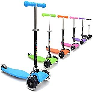 3Style Scooters® RGS-1 Little Kids Three Wheel Kick Scooter In Blue - Perfect for Children Aged 3+ - LED Light-Up Wheels, Foldable Design, Adjustable Handles & Lightweight Construction:Btc4you