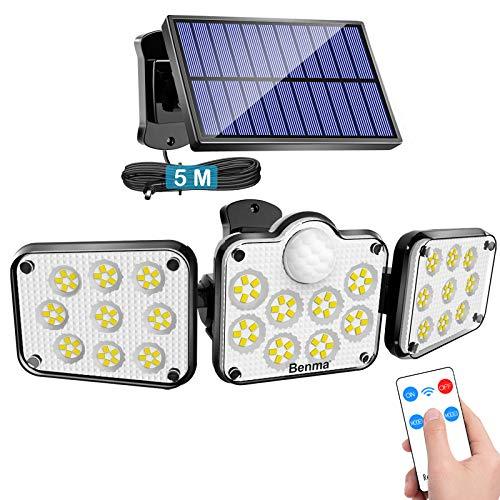 Solarlampen für Außen mit Bewegungsmelder, 138 LED Strahler Außen mit Fernbedienung, IP65 Wasserdichte, 360° Beleuchtungswinkel, 3 Modi Solar Wandleuchte mit 5m Kabel [Energieklasse A+++]