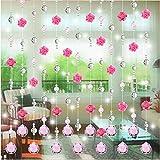 Konxxtt Home Decor, Crystal Glass Rose Bead Curtain Living Room Bedroom Window Door Wedding Decor(Pink,100cm /39.4')