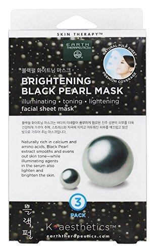 Earth Therapeutics - Brightening Black Pearl Facial Sheet Mask - 3 Count