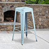 Flash Furniture Commercial Grade 4 Pack 30' High Backless Distressed Green-Blue Metal Indoor-Outdoor Barstool