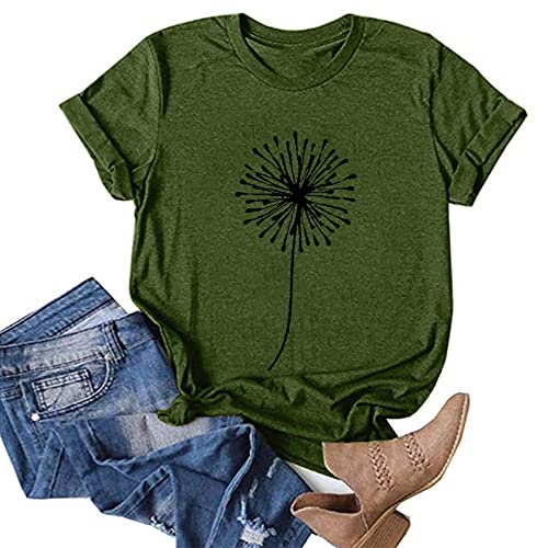 OutTop Women Tops Summer Casual Short Sleeve Sunflower Graphic Tees Workout Shirts Blouses Womens Crewneck Tshirts (D-Army Green, L)