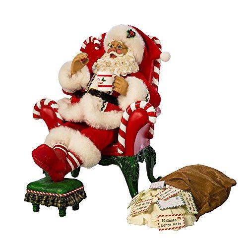 Kurt S. Adler 10' Wind-Up Musical Santa in Armchair with Mailbag Figure