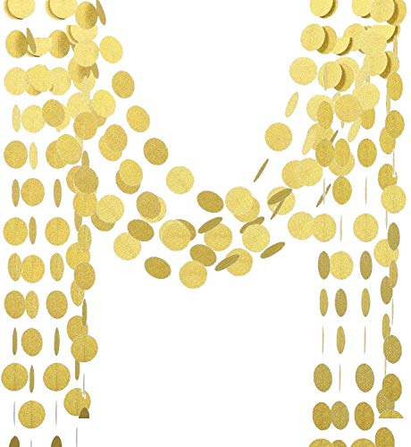 Voloker Baby Shower Decorations Glitter Paper Circle Garland Dots Hanging Decor, Circle Event & Party Supplies,2'' high,26-feet(Gold,2pc)