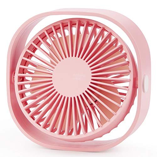 USB Table Fan Portable Mini Personal Desk Fan with 360 Rotation and Adjustable 3 Speed for Office, Travel-Pink