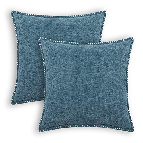 CaliTime Throw Pillow Cases Pack of 2 Cotton Thread Stitching Edges Solid Dyed Soft Chenille Cushion Covers for Couch Sofa Home Farmhouse Decoration 18 X 18 Inches Smoke Blue