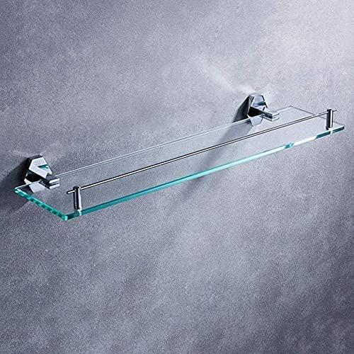 Llq2019 Estante de Vidrio para baño, Estante Frontal con Espejo de Cobre Completo, Estante para cosméticos de baño de 1 Nivel