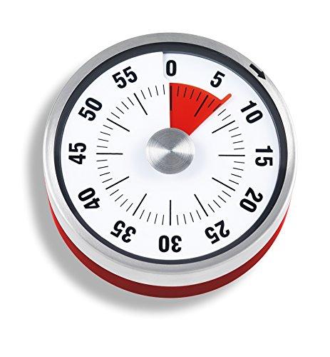 ADE Mechanischer Küchentimer TD 1702. Klassischer Kurzzeitmesser mit Rundskala zum Aufziehen. Durchmesser 7,8 cm. Akustisches Signal nach Zeitablauf. Zuverlässige Eieruhr. Farbe: Rot