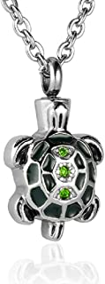 Heartfelt Turtle with Green Stones On Back Cremation Jewelry Necklace Urn Memorial Keepsake Pendant for Ashes with Funnel Fill Kit