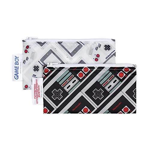 Bumkins Nintendo Reusable Snack Bag Small 2 Pack, NES Controller/Game Boy