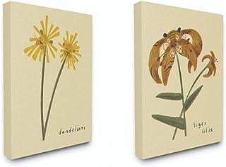 Stupell Industries Dandelions and Tiger Lilies Flowers Cute Large Cat Animal Kids Nursery Drawings, Design by Artist Daphn...