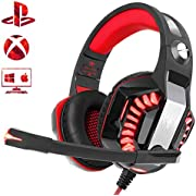Beexcellent PS4 Headset, Stereo Deep Bass Xbox One Gaming Headset, PC Gaming Headphones with Noise Reduction Mic LED Light Volume Control for Laptop Mac