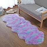Alfombra de imitación de piel de cordero, artificial Alfombra, excelente piel sintética de calidad alfombra de lana ,Adecuado para salón dormitorio baño sofá silla cojín (Verde violeta rosa, 60X160CM)