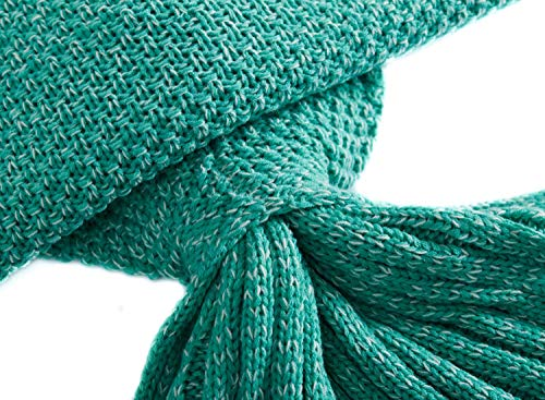 LAGHCAT All Seasons Mermaid Tail Blanket Knit Crochet and Cool color Mermaid Blanket for Adult,Sleeping Blankets (71″x35.5″, vivid green)