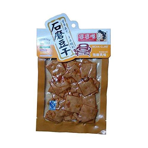 中国特産品 石磨豆腐干(豆干) 豆腐加工品(味付け) 婆婆嘴 (泡椒風味(四川風の唐辛子の塩漬け)) 90g×3袋