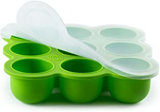 Silicone Baby Food Freezer Storage Tray - Clip-On Silicone Lid - 9 Cups x 2.5 Oz - Oven & Dishwasher Safe - with Baby Weaning E-Books (GRN)