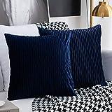 Kissenbezüge Set mit 2 dekorativen quadratischen rechteckigen Kissenbezüge Samt Moderne Kissenbezüge für Couch Bett Sofa Stuhl Schlafzimmer Wohnzimmer(Navy blau)