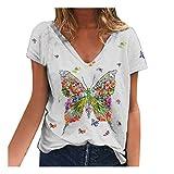 YANFANG Blusa para Mujer Holgada con Estampado de Mariposas de Moda de Verano con Cuello en V Profundo Talla Grande de Manga Corta Casual Adolescente Camiseta (XL, White)