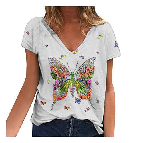 YANFANG Blusa para Mujer Holgada con Estampado de Mariposas de Moda de...