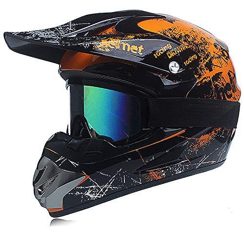 Motocross-Helm, professionelles Set, für Kinder, Off-Road, Cross-Rennen, Rennfahrer, Y-Helm mit Brillen/Handschuhen (S,Orange)