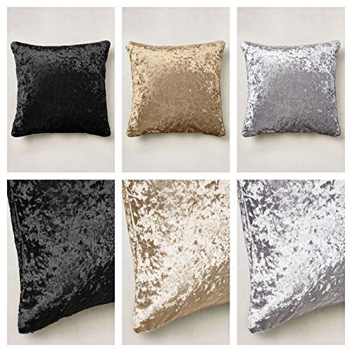 Feather & Linen LARGE 24' (60cm) SUPER SOFT WARM CRUSHED VELVET CUSHION FILLED. (Black)