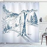 ABAKUHAUS Winter Duschvorhang, Landschaft von Snowy Mountains, mit 12 Ringe Set Wasserdicht Stielvoll Modern Farbfest & Schimmel Resistent, 175x200 cm, Dunkel Petrol Blau & Weiß