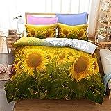 Juego de ropa de cama de 150 x 220 cm con impresión 3D de girasoles, plantas, 100 % suave y agradable, microfibra de alta densidad con cremallera + 2 fundas de almohada de 80 x 80 cm