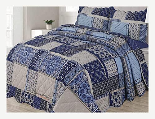Juego de cama reversible de 3 piezas con funda de almohada (parche de circonio, doble)