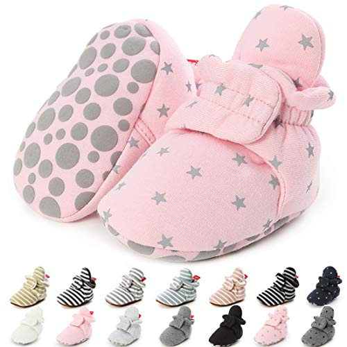 CENCIRILY Newborn Baby Boys Girls Cozy Fleece Booties Soft Non Slip Grips Sole Winter Socks Crib Shoes for Toddler First Walkers 03 Pink+star, 3-6 Months M US Infant