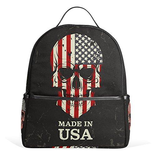 TIZORAX - Zaino per computer portatile, motivo: teschio con bandiera americana