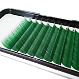 Scala Green Color Fake False Lashes Thickness 0.07mm C Curl Length 8-13mm to Choose Eyelash Extensions Individual Lashes Colorful Lashes (12mm)
