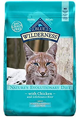 Blue Buffalo Wilderness High Protein Grain Free, Natural Adult Indoor Hairball Control Dry Cat Food, Chicken 11-lb, 800092